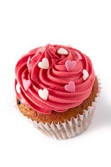 Cupcake decorato con cuori di zucchero per san valentino isolato
