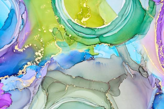 Correnti di tonalità traslucide, serpeggianti vortici metallici e schiumosi spruzzi di colore modellano il paesaggio di queste trame a flusso libero.