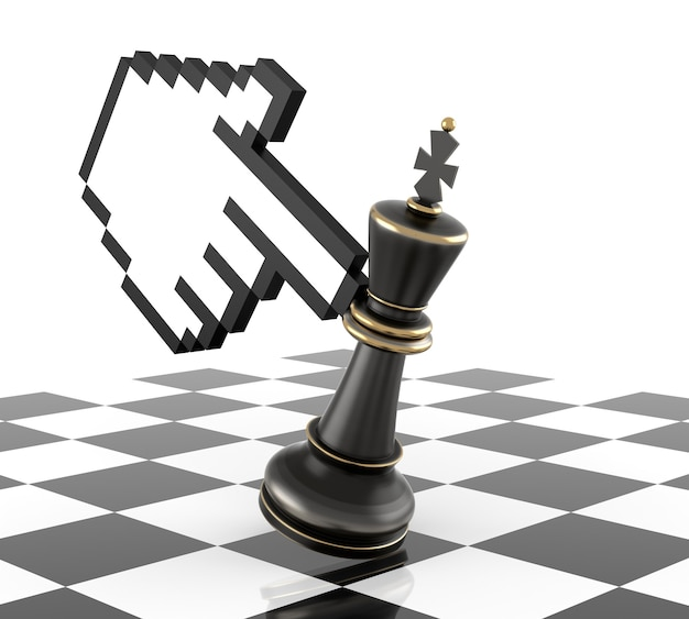 Mano cursore e sconfiggi il re degli scacchi. rendering tridimensionale