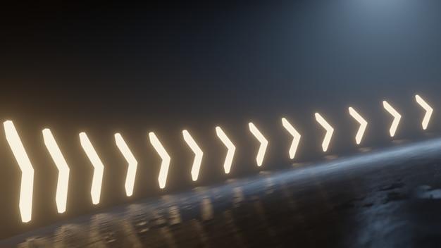 Strada curva con riflesso della luce dal led a forma di freccia