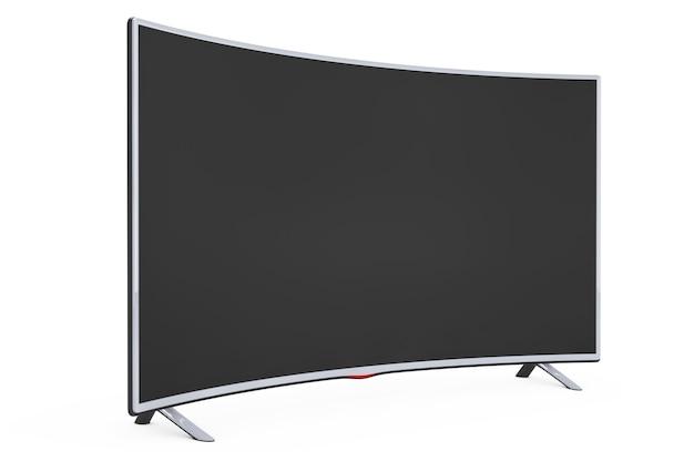 Tv al plasma smart lcd curvo o monitor su sfondo bianco. rendering 3d.