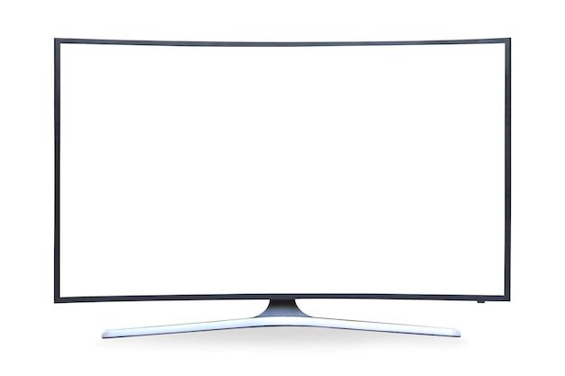 Tv curvo 4k a schermo piatto lcd o oled, plasma realistico, monitor hd bianco vuoto