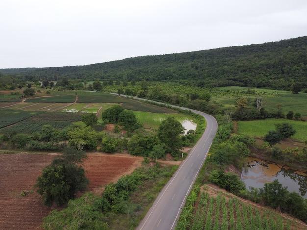 Strada sinuosa in terreni agricoli rurali, fotografia aerea con drone.