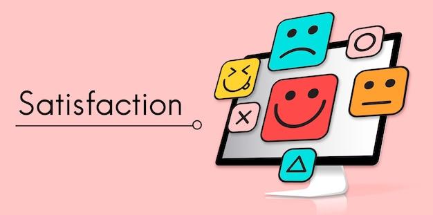 Faccine emoticon di feedback sulla valutazione del cliente