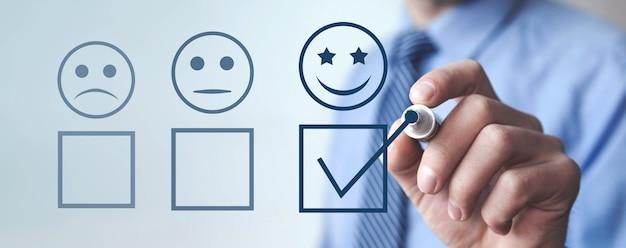 Esperienza del cliente. sondaggio di soddisfazione e servizio clienti