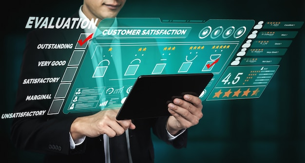 Concetto di sondaggio feedback soddisfazione recensione cliente.