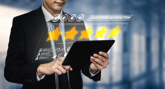Concetto di sondaggio feedback feedback soddisfazione cliente.
