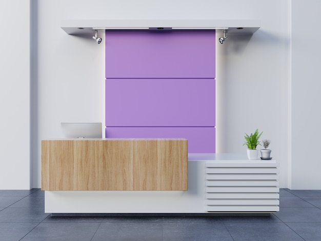 Visitatori bianchi al banco del servizio clienti, concetto di design ultravioletto, rendering 3d