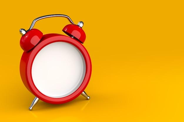 Sveglia classica rossa personalizzabile su sfondo giallo illustrazione 3d