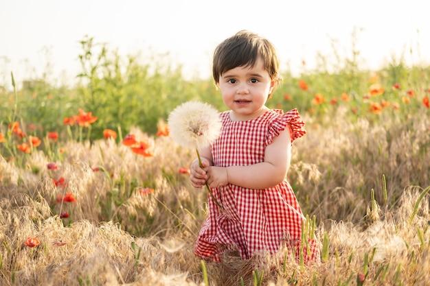 Neonata sveglia in vestito rosso che tiene grande dente di leone sul campo dei papaveri al tramonto estivo