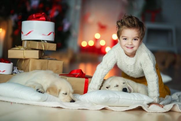 Bambino sveglio con un labrador dorato bianco sullo sfondo delle decorazioni di natale.