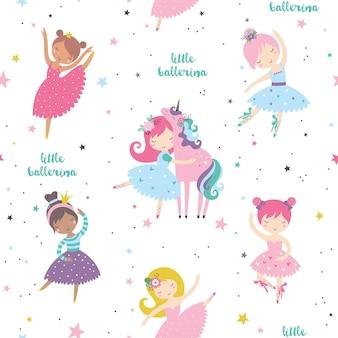 Carina ballerina con motivo senza cuciture infantile dolce unicorno.