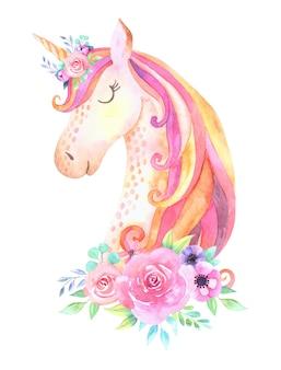 Testa di unicorno bella carina con fiori