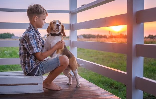Ragazzo sveglio e cane beagle che si siede che abbraccia sulla veranda della casa in una sera d'estate contro il tramonto