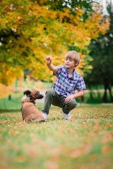 Ragazzo sveglio che gioca e cammina con il suo cane nel prato
