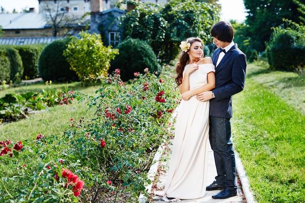 Sposa e sposo svegli che stanno vicino a vicenda al fondo del parco, foto del matrimonio, bella coppia.