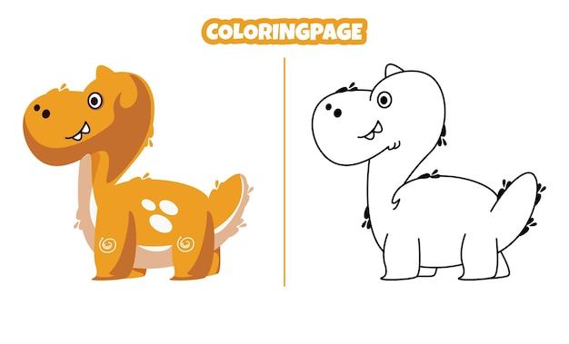 Simpatico brontosauro con pagine da colorare adatte ai bambini