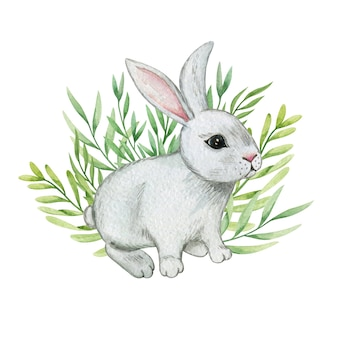Acquerello dell'illustrazione del coniglietto sveglio, composizione di pasqua, arredamento del coniglietto di pasqua