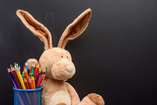 Simpatico coniglietto seduto sullo sfondo di una lavagna nera, torna a scuola, copia dello spazio