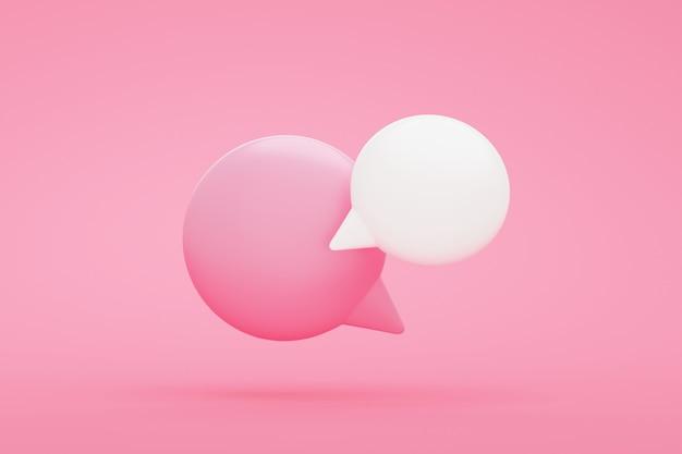 Simpatica bolla di chat su sfondo rosa 3d rendering illustrazione con spazio di copia