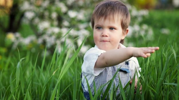 Un bambino carino con una tuta blu e gli occhi azzurri gioca in modo divertente nell'erba verde alta in un parco fiorito verde