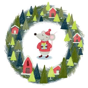Simpatico topo natalizio con berretto lavorato a maglia e maglione con un regalo in mano sullo sfondo di una corona di abete con case e neve su sfondo bianco