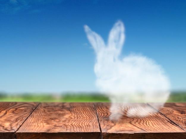 Simpatico coniglietto pasquale fatto da una nuvola su un vecchio tavolo di legno su uno sfondo di cielo e un campo verde. concetto di pasqua per biglietto di auguri