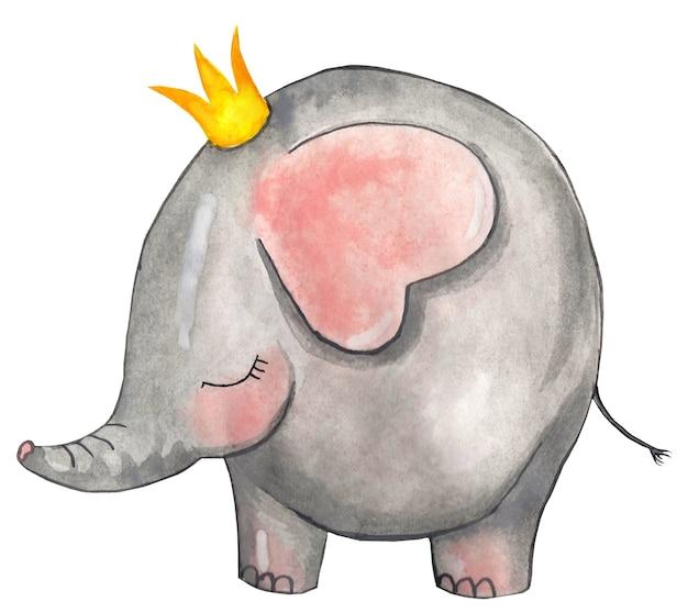 Simpatico elefante nella corona illustrazione per bambini disegnata a mano su carta isolata su un bianco