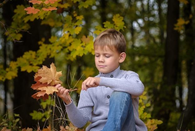 Ragazzo europeo sveglio in autunno park con fogliame giallo
