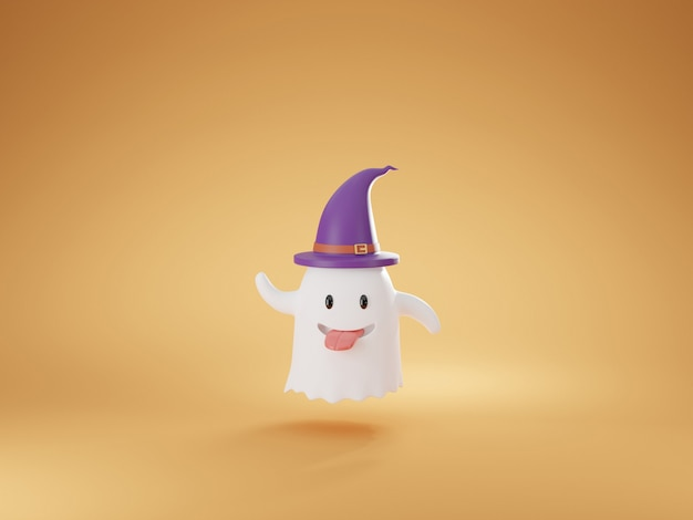 Simpatico cartone animato amichevole fantasma rendering 3d.