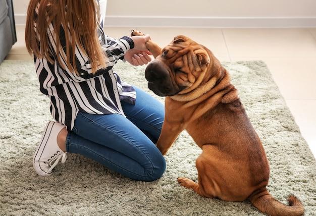 Simpatico cane divertente con proprietario a casa