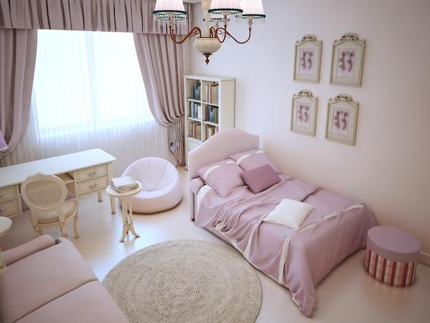 Camera da letto ragazza carina con mobili morbidi nei colori rosa