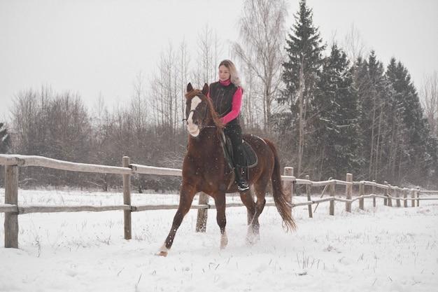 La ragazza carina cavalca il suo cavallo in inverno