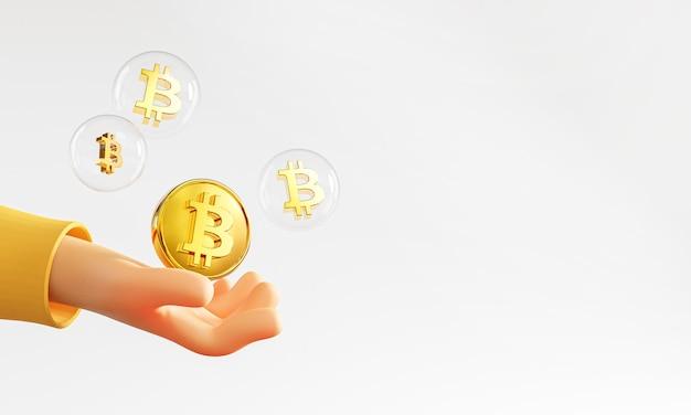 Carino mano azienda bolla di bitcoin copia spazio 3d rendering
