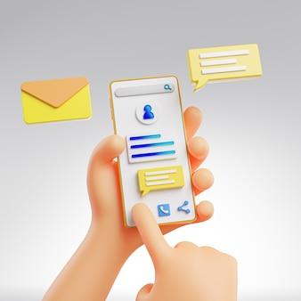 Mano sveglia che tiene e che tocca il messaggio di telefono pop-up rendering 3d