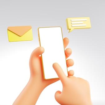 Carino mano che tiene e che tocca il messaggio di telefono pop-up mockup modello 3d rendering