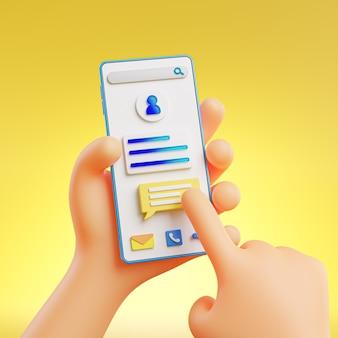 Carino mano che tiene e che tocca il telefono sfondo giallo rendering 3d