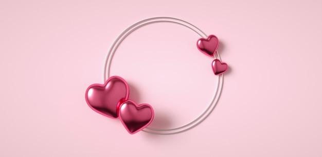 Cornice di cuori carini per il design del messaggio di amore 3d render