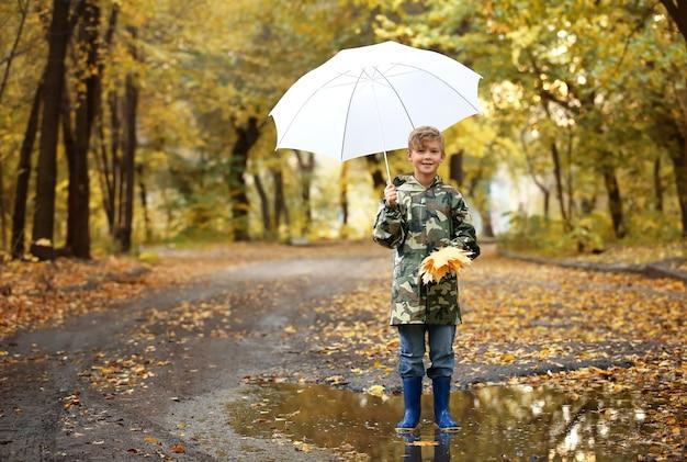 Ragazzino sveglio con l'ombrello nella sosta di autunno