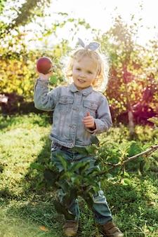 Bambino sveglio della bambina che seleziona le mele rosse organiche mature nel frutteto di mele in autunno.