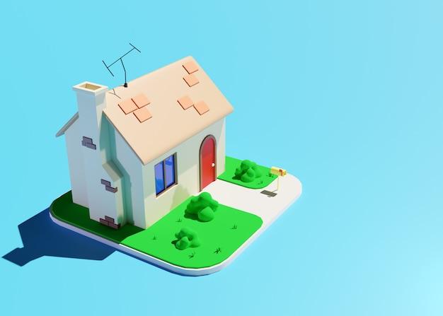 Piccola casa carina in stile cartone animato con camino in mattoni