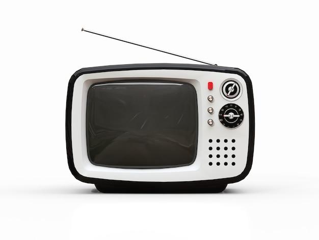 Carino vecchia tv nera con antenna su uno sfondo bianco. illustrazione 3d.