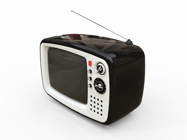 Carino vecchia tv nera con antenna su una superficie bianca