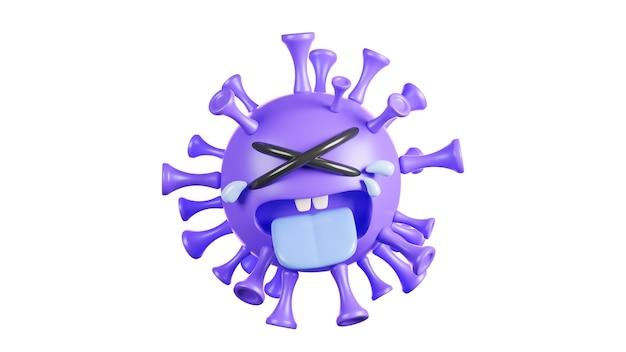 Simpatico personaggio viola del virus della colona che piange su sfondo bianco, vaccino covid-19., modello 3d e illustrazione.