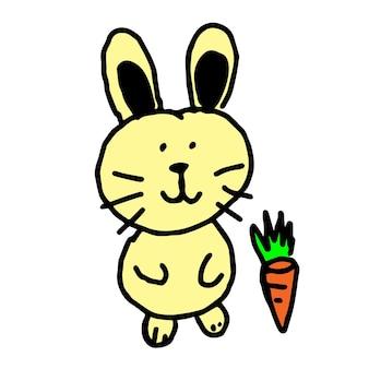 Simpatico coniglio cartone animato disegnare a mano, personaggio comico