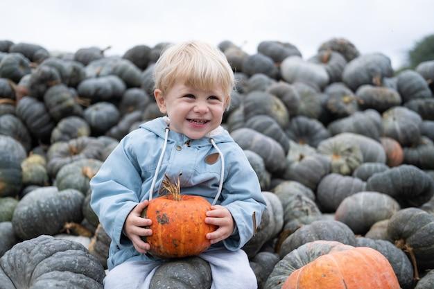 Ragazzo caucasico sorridente sveglio del bambino che si siede sul mazzo di zucche. stagione autunnale, raccolto di zucca.