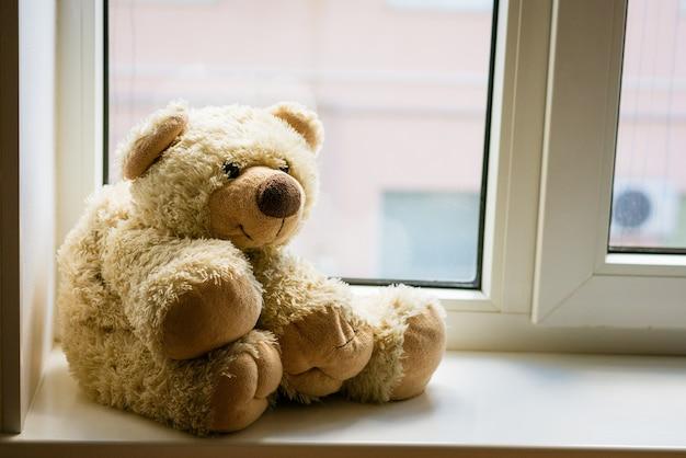 Un simpatico orsacchiotto si siede sul davanzale della finestra vicino alla finestra, resta a casa al sicuro in un'atmosfera familiare con un ...