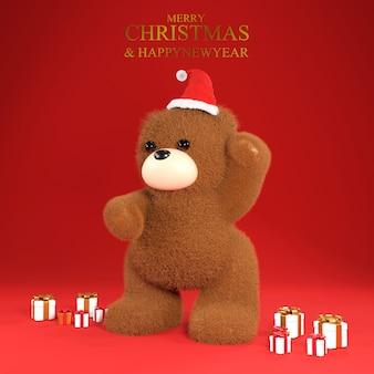 Simpatico orsetto giocattolo con regalo di natale e cappello da babbo natale su sfondo rosso. rendering 3d