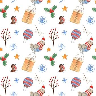 Modello senza cuciture di natale bianco carino con agrifoglio di rami di uccelli dell'acquerello e fiocchi di neve