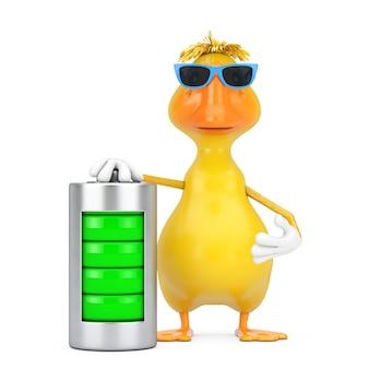 Simpatico cartone animato giallo anatra persona mascotte di caratteri con batteria in carica astratta su sfondo bianco. rendering 3d